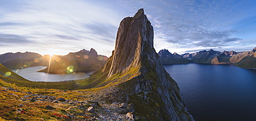 Norway, Senja, Panoramic view of Segla mountain at sunrise