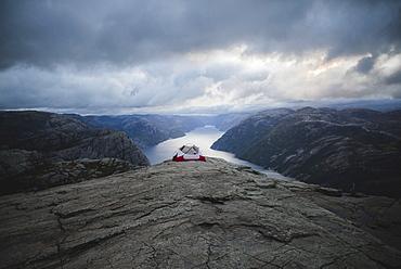 Tent on Preikestolen cliff in Rogaland, Norway