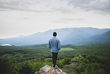 Man standing on cliff by mountain and forest