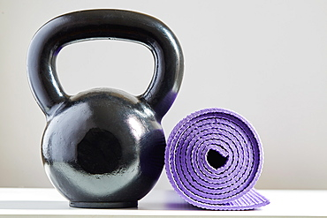Kettle bell and yoga mat