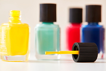 Bottles of colorful nail polish