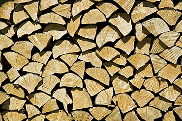 Ends of stacked split firewood