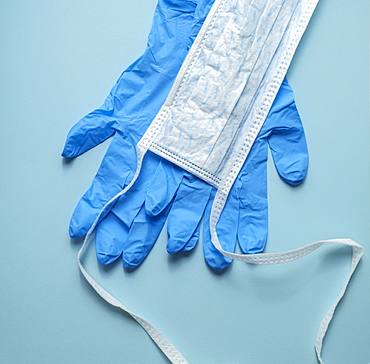 Hygiene mask and latex gloves