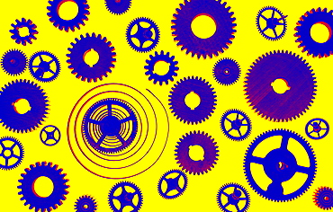 Illustration of cogs on yellow background