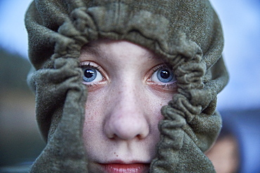 Portrait of girl wearing hoodie