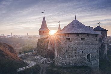 Ukraine, Oblast, Kamianets Podilskyi, Old castle in sunlight
