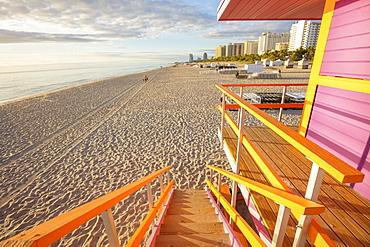 USA, Florida, Miami, Lifeguard hut on beach at dusk