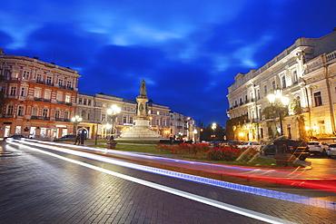 Ukraine, Odessa Oblast, Illuminatedmonument at town square