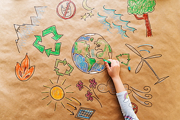 Girl drawing eco friendly poster
