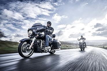 United Kingdom, London, Motorcyclists on road