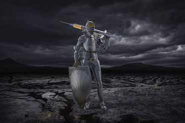 Knight figurine with vaccination against coronavirus