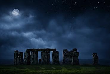 United Kingdom, England, Full moon above Stonehenge