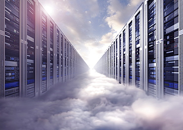 Composite image of computer servers and clouds