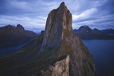 Norway, Senja, Scenic view of Segla mountain at dusk