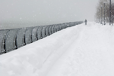 Person walking outdoors in a snowstorm