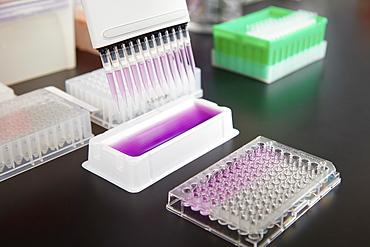 Laboratory glassware on table