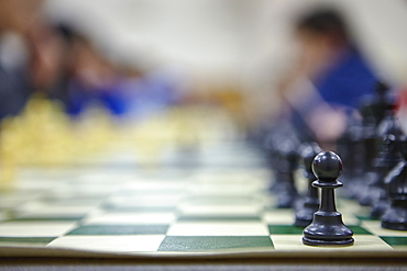 Close up of chess board with chess pawns