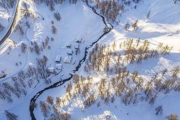 Switzerland, Canton Wallis, Simplon pass, Mountains on sunny day in winter