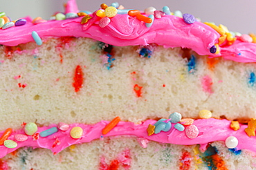 Colorful sprinkles on pink cake frosting