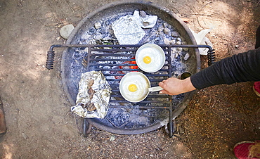 Preparing breakfast at camping