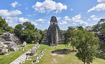 Guatamala, Tikal, View of Mayan pyramid
