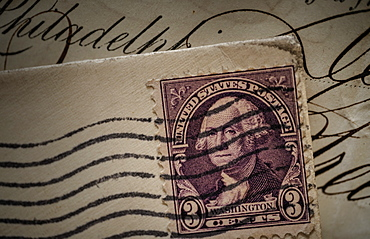 Postage stamp with George Washington