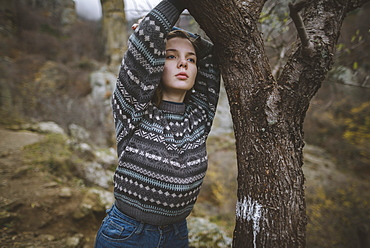 Ukraine, Crimea, Portrait of young woman in sweater
