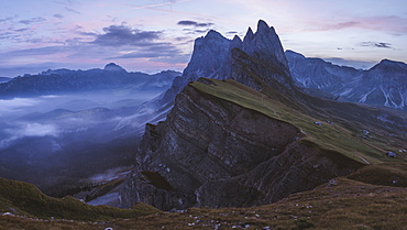 Italy, Dolomite Alps, Seceda mountain, Scenic view of Seceda mountain in Dolomites at sunset