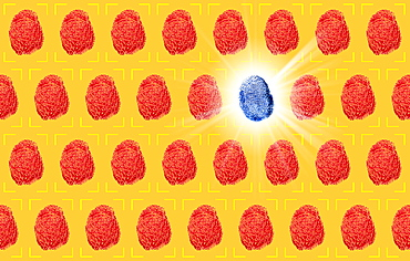 One blue fingerprint between red fingerprints on yellow background