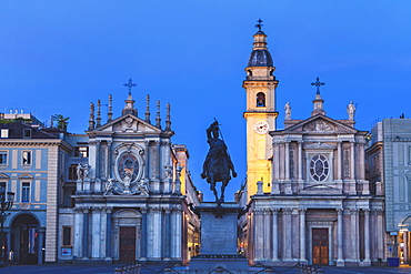 Italy, Piedmont, Turin, Equestrian statue in front of church