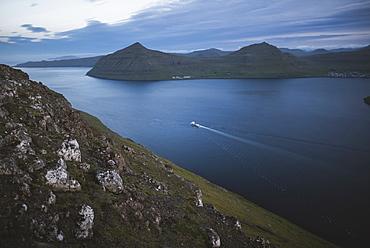 Denmark, Faroe Islands, Klaksvik, Boat in fjord