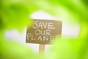 Placard reading save our planet