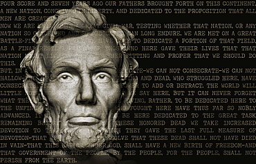 Abraham Lincoln head with US Constitution text
