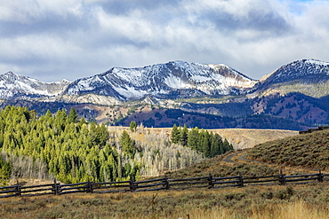 USA, Idaho, Stanley, Ranch landscape with mountains and forests