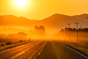 USA, Idaho, Bellevue, Empty road in fog at sunrise