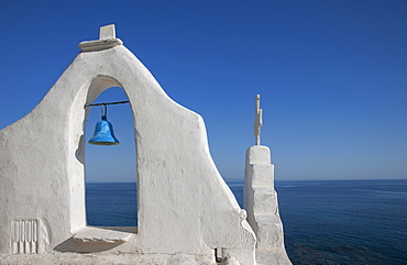 Greece, Cyclades Islands, Mykonos, Chora, Bell tower of Paraportiani Orthodox Church