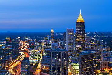 USA, Georgia, Atlanta, Downtown architecture at dusk