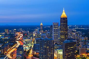 USA, Georgia, Atlanta, Downtown architecture at dusk