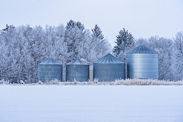 USA, Idaho, Bellevue, Farm silos in winter