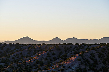 USA, New Mexico, Lamy, Galisteo Basin Preserve, Evening sky over Galisteo Basin Preserve
