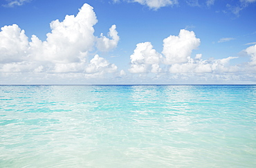 Turquoise sea and cloudy sky