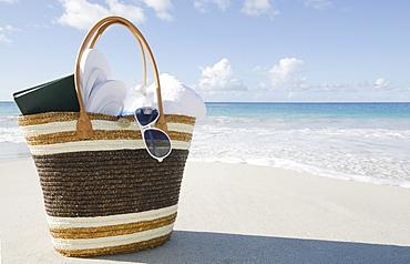 USA, USA Virgin Islands, St. John, Vacation bag on beach