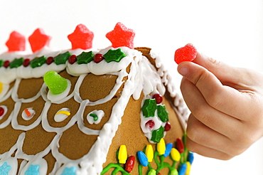 Hand decorating gingerbread house cake