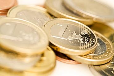 Closeup of Euro coins