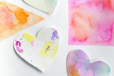 Studio shot of colorful paper hearts