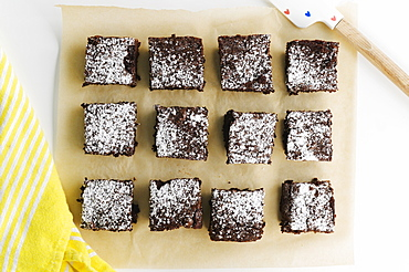 Overhead view of freshly baked brownies