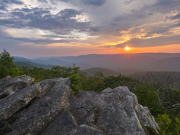 United States, Virginia, Mountain landscape at sunset
