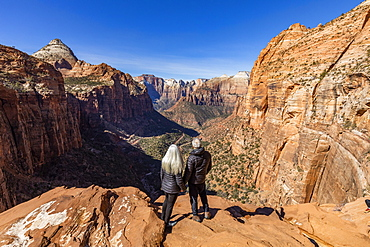 United States, Utah, Zion National Park, Senior couple looking over Zion Canyon in Zion National Park