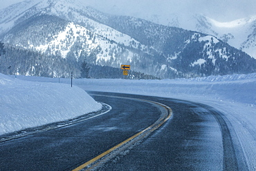 United States, Idaho, Sun Valley, Road through snowy mountains