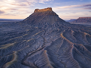 United States, Utah, Desert landscape with rock formation